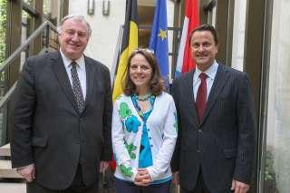 (De g. à dr.) Karl-Heinz Lambertz, Corinne Cahen et Xavier Bettel.