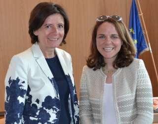 Entrevue de Corinne CAHEN avec Malu DREYER , (d.g.à.d.) Malu Dreyer, ministre-Présidente de Rhénanie-Palatinat, Corinne Cahen, ministre luxembourgeois à la Grande Région