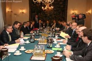 Sous la présidence du Premier ministre, ministre d'État, Xavier Bettel, une délégation du gouvernement recevra les partenaires sociaux , Photo de groupe