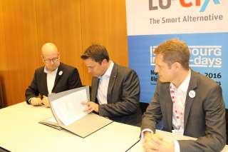 Entrevue, (de g. à dr.) Marco Houwen; Xavier Bettel; Claude Demuth