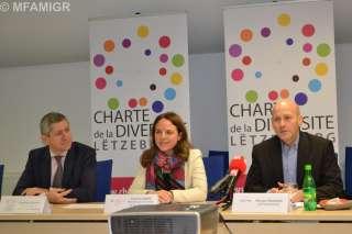 , (de g. à dr.) Christian Scharff, Comité pour la Charte de la Diversité ; Corinne Cahen, ministre de la Famille et de l'Intégration, marraine de la Charte de la Diversité ; Nicolas Poussing, CEPA/Instead