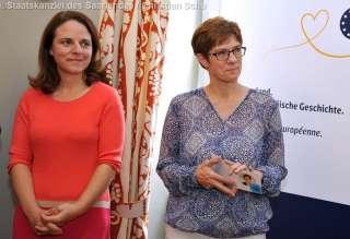 """Corinne Cahen bei der Ausstellungseröffnung """"Saarland. Eine europäische Geschichte"""" im Europamuseum Schengen"""
