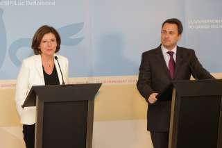 Visite de travail à Luxembourg de la ministre-présidente de Rhénanie-Palatinat, Malu Dreyer (11.01.2016)  , (de g. à dr.) Malu Dreyer, Xavier Bettel