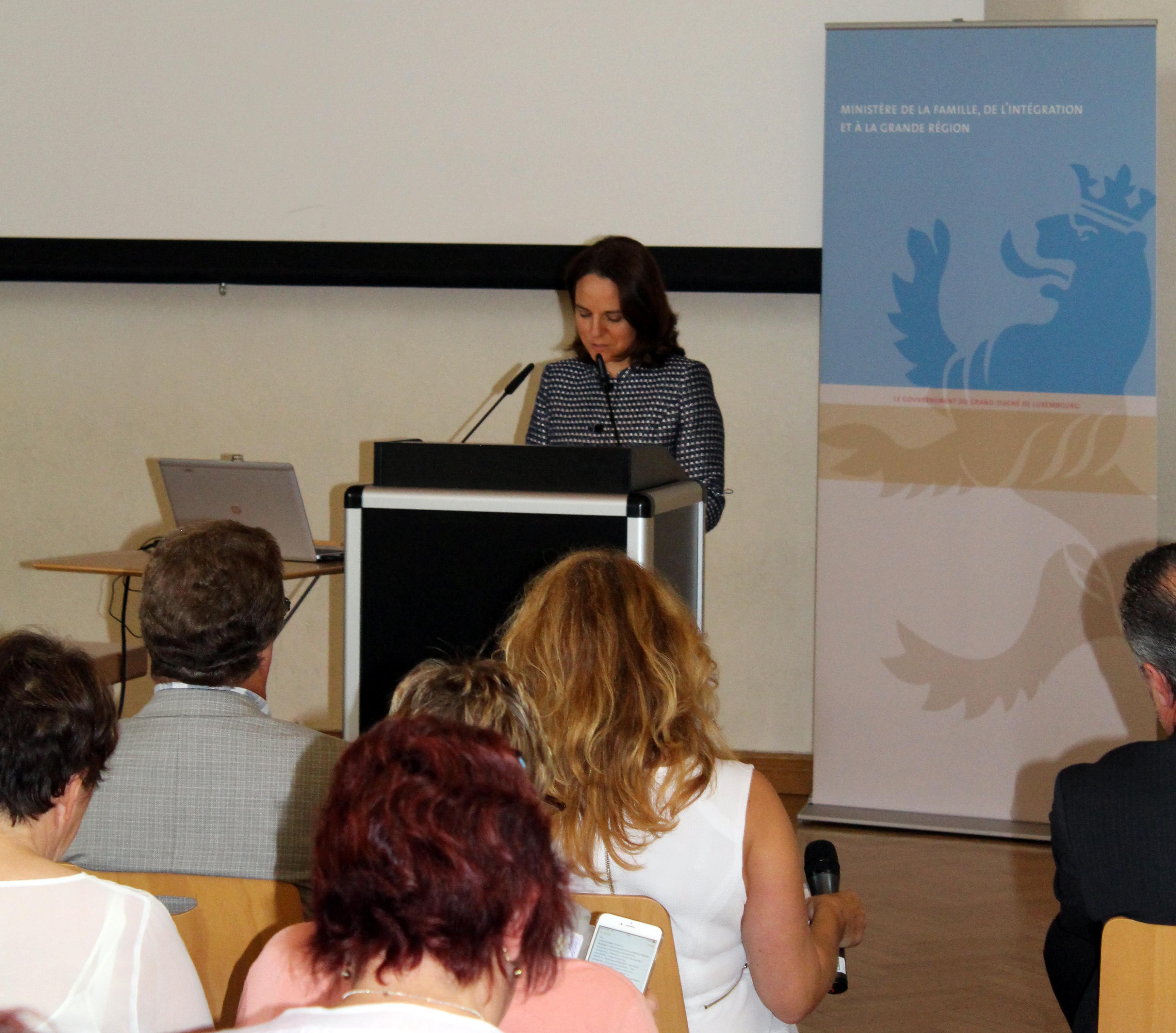 La ministre de la Famille et de l'Intégration, Corinne Cahen, lors du forum.