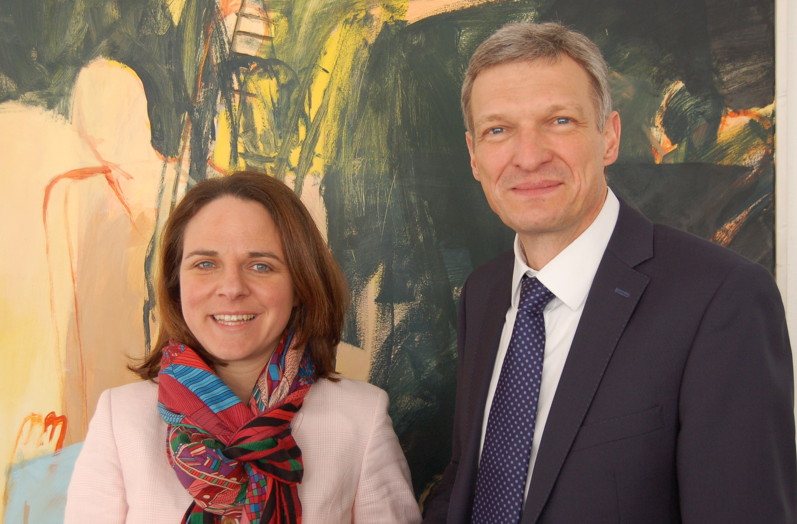 (de g. à dr.) Corinne Cahen, Ministerin für die Großregion; Stephan Toscani, saarländischer Minister für Finanzen und Europa