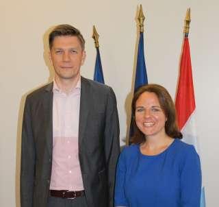 (de g. à dr.) Mathieu Klein, président du Conseil départemental de Meurthe-et-Moselle; Corinne Cahen, ministre à la Grande Région