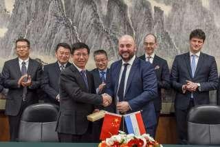 Signature de l'accord de coopération ntre le ministère de l'à conomie et  l'Administration spatiale nationale chinoise (CNSA)