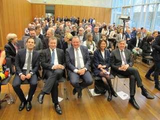 (de g. à dr.) Dan Biancalana ; Marc Hansen ; Fernand Etgen ; François Bausch ; Lydia Mutsch