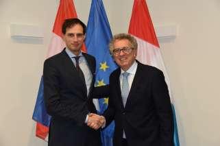 Visite de travail du ministre des Finances des Pays-Bas, Wopke Hoekstra, (de g. à dr.) ministre des Finances des Pays-Bas, Wopke Hoekstra et ministre des Finances, Pierre Gramegna