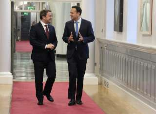 (from .l to r.) Xavier Bettel, Prime Minister, Minister of State; Leo Varadkar, Prime Minister of Ireland