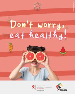 "Pancarte ""Don't worry, eat healthy"""